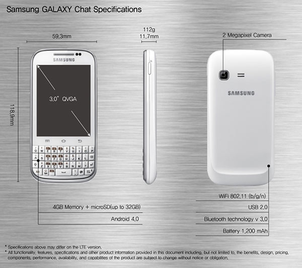 Samsung GALAXY Chat 1 New Samsung Galaxy Chat with full QWERTY and Android 4.0